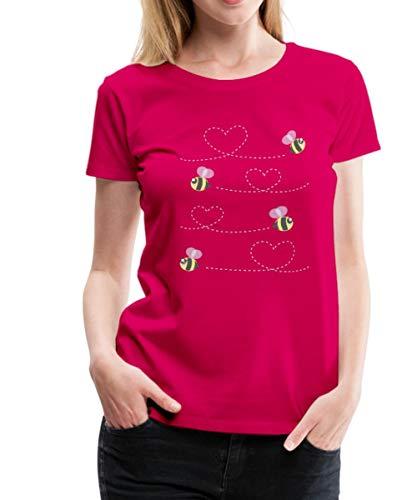 Spreadshirt Süße Bienen Fliegen In Der Luft Herzen Frauen Premium T-Shirt, XXL (44), Dunkles Pink