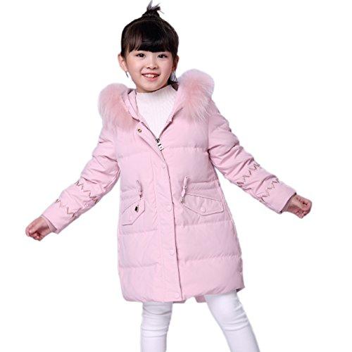 FOLOBE Girls 'Down Puffer Jacke Parka Coat Pelz Kapuzenjacke Outfit Windbreaker Thick Warm (Pelz-trim Parka-jacke)
