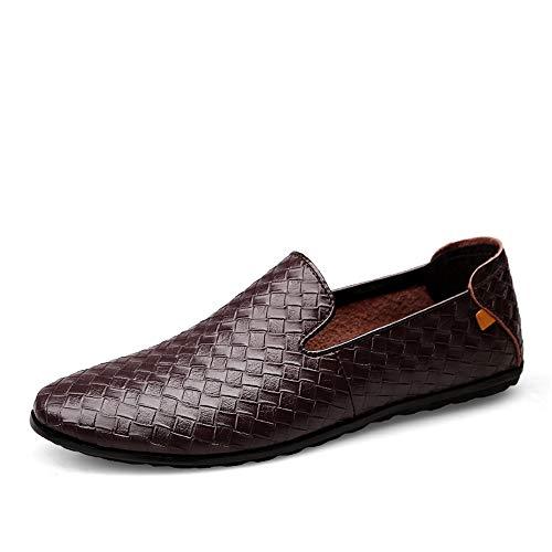 CHENDX Schuhe, Herrenmode gewebte Textur ziehen Flache runde Zehe Penny Loafer Boot Mokassins Freizeitschuhe (Color : Dunkelbraun, Größe : 45 EU) -