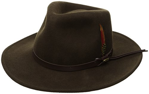 Scala Classico Men's Crushable Felt Outback Hat, Olive, Small