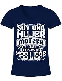 TEEZILY - Soy una Mujer Motera - Camiseta de Pico Mujer