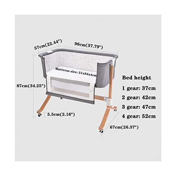 """Bedside Sleeping Crib 96 X 57 X 87cm for 0-12 Months Baby (Color : Purple) WZX PRODUCTS: European crib multi-function newborn solid wood bed portable baby stitching bed. SIZE: 96*57*87cm (37.79 x 22.44 x 34.25"""") for 0-12 months baby. FEATURES: Silent implementation, smooth shock absorption, brake at any time, does not hurt the floor. 2"""