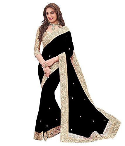 Vk Saree Chiffon Saree With Blouse Piece (Black_Free Size)