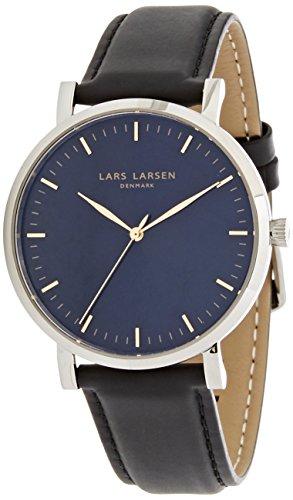 Lars Larsen 143SBBLL - Reloj con esfera azul y correa de piel negra