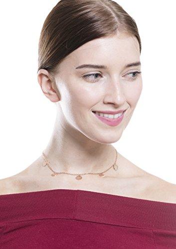 Happiness Boutique Damen Kette mit Plättchen in Roségold | Kette mit Runden Anhängern Geometrisches Design
