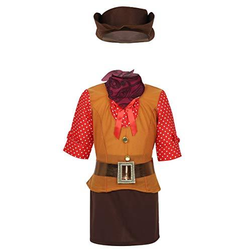 FEESHOW Mädchen Cool Cowgirl Cosplay Outfit Westernstil Halloween Kostüm Set Polka Dots Halbarm Top+ Röckchen+Hut+ Bandana+ Gürtel Dress up Party Karneval Gelbbraun&Braun 116-122/6-7Jahre