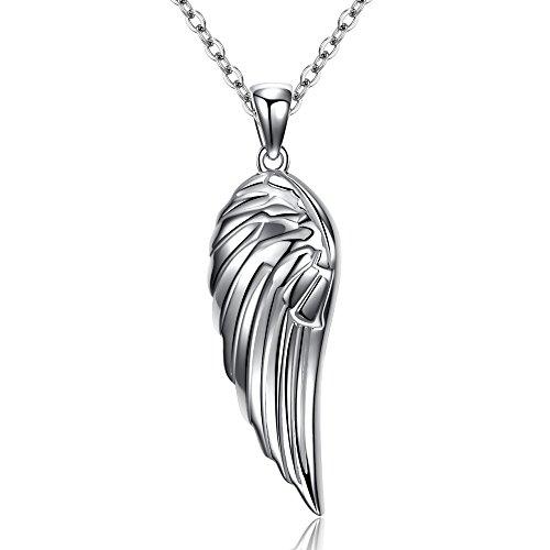 Kaletine Collar de Colgante de ala de ángel de Plata Esterlina 925 16in + 2in Cable Cadena de Anillo de Resorte