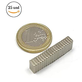 25pieces of Neodymium Magnet Block-5mm Long X 8mm Wide x 1.5mm Thick-Strength Of Atraccion 0.75kg-2900Gauss