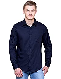 41e731bb32 JScottwitchy Men s Pure Cotton Casual Semi Formal Slim Fit Dark Blue Shirt