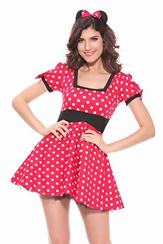 ALBRIGHT Sexy Maus Kostüm Damen , Polka dots Cartoon Cosplay Kleid mit Ohren für Halloween Weihnachten Karneval Party (Mickey Mouse Kostüm Frau)