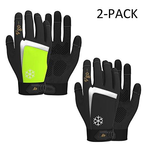 Vgo Glove Winter Arbeitshandschuhe aus Spandex und Synthetikleder, Tiefkühl, für Umgebung vom niedrigen Temperatur, mit C40 Thinsulate, super warm, Multifunktion (2 Paare, Schwarz + Grün, 8/M & 9/L & 10/XL)