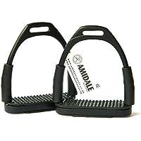 Amidale Flexi Seguridad Estribos Caballo Equitación Flexible Planchas Inoxidable Acero - Negro, 11 cm