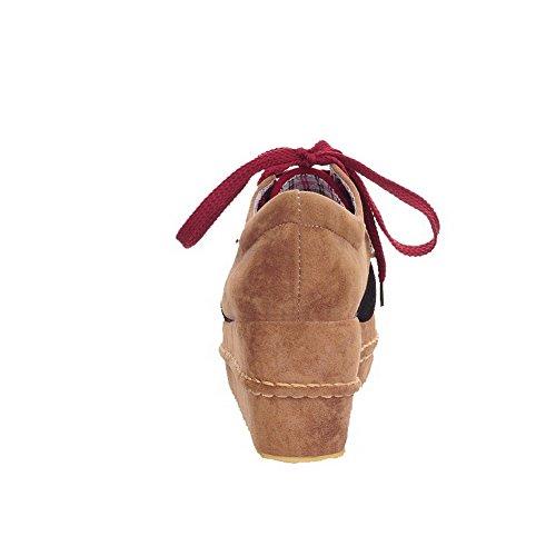 AgooLar Femme Lacet Xi Shi Duvet Rond à Talon Correct Couleurs Mélangées Chaussures Légeres Rouge