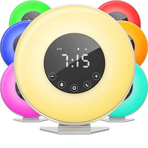 GWJNB Sunrise Wecker, Intelligentes Weck Licht-Digitale LED-Uhr 6 Farbschalter FM-Radio-Schlafzimmer-Mehrere Naturgeräusche Sonnenuntergang Simulation & Touch Control
