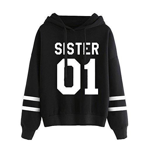 Und 1 Pullover (Kapuzenpullis Frauen Best Friends Sweatshirt Langarm Damen Hoodies Pullover Tops Bluse Kapuzen von ZIWATER (M, Schwarz))