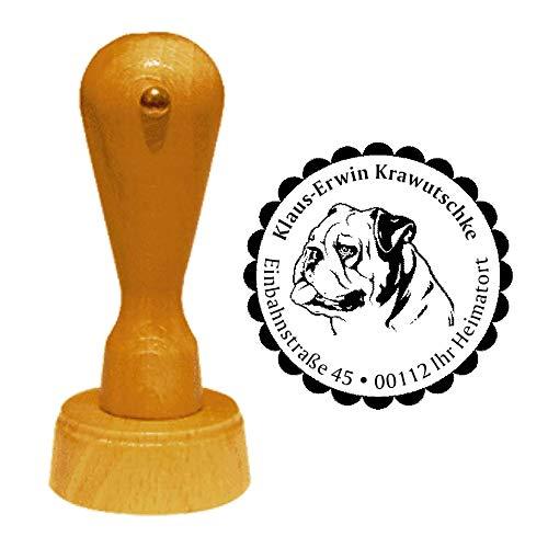 Stempel Adressstempel « ENGLISCHE BULLDOGGE » Durchmesser ca. Ø 40 mm - mit persönlicher Adresse, Motiv und Zierrand - Hund Hunderasse England English Bulldog
