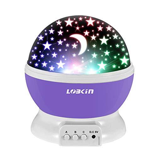 IN LED Sterne Nachtlicht, 360 Grad Kinder Drehbare Sternenlichter, LED Nachttischlampe für Schlafzimmer, Party und Romantische Dekorationen (Lila) ()
