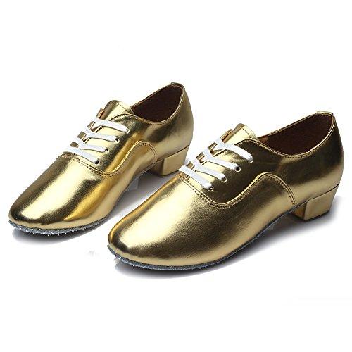 HROYL pour l'homme Chaussons de danse latine/Dance shoes en Cuir FR-702 Or