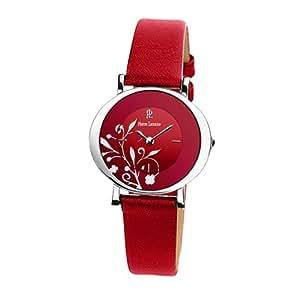 pierre lannier 032h655 montre femme quartz analogique cadran rouge bracelet cuir rouge. Black Bedroom Furniture Sets. Home Design Ideas
