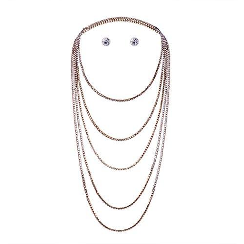 JUNBOSI Frauen Accessoires Fashion Boutique Multi-Layer-minimalistischen Halskette Ohrstecker Set Frauen Schmuck Geschenk Hochzeit (Farbe : Gold, Größe : One size)