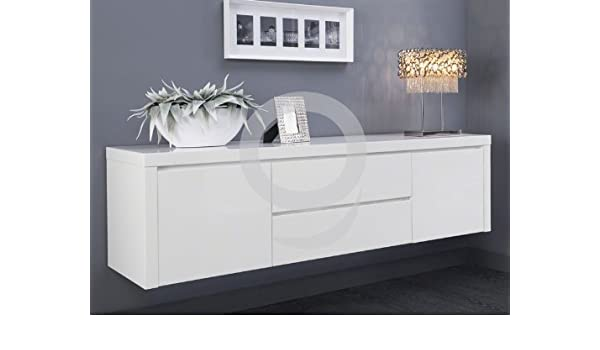 Sideboard weiß hochglanz hängend  Sideboard Weiß Lack hängend Hochglanz 2 Türen 2 Schubladen: Amazon ...