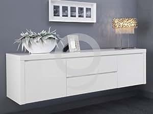Sideboard Weiß Lack hängend Hochglanz 2 Türen 2 Schubladen