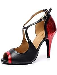 Eeayyygch Zapatos de Baile de Salsa de Salsa Latina para Mujer PU Salsa Tango    Té Samba   Moderno Zapatos de Jazz Sandalias Tacones… 2c0c4bf4dc65