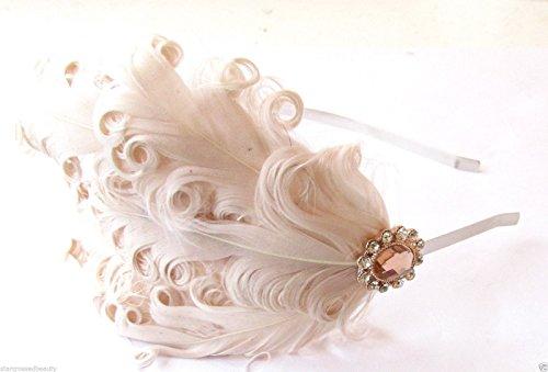 Starcrossed Beauty Bibi avec plume style vintage années 1920 Crème