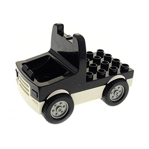 Preisvergleich Produktbild 1 x Lego Duplo LKW Fahrgestell schwarz weiß Laster Auto Lastwagen Zugmaschine Baufahrzeug breite Räder Felge silber für Set 3656 duptruck02