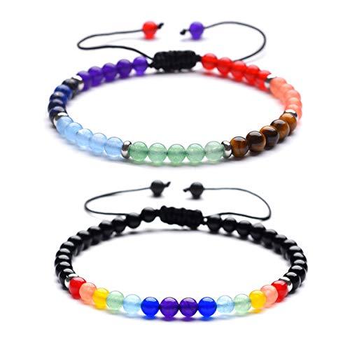 B.BOXX Bracelets Chakra, Bracelet de guérison Chakra de 4mm 7 pour Hommes Femmes, Bracelet de Perles Naturelles de Pierres précieuses, Bracelet élastique de Yoga de Reiki Energy (2 pièces)
