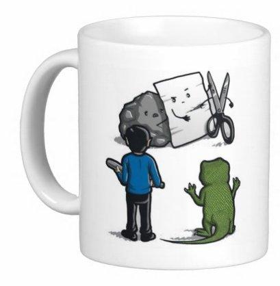 "acen ""Rock Paper Scissors Lizard Spock aus Big Bang Theory Keramik Tasse, weiß, 11Oz"