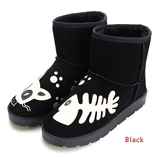 MEXI Damen beil?ufiger Winter-warmer Kn?chel-Schnee-Aufladungen flache Schuhe Schwarz