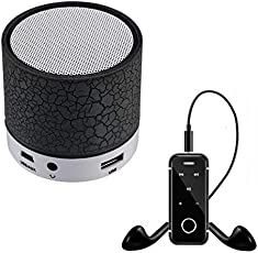 Exosis Rechargeable Bluetooth Outdoor Speaker with LED Light, Support TF Card & Mic with i6 Wireless Stereo Bluetooth Headset A2Dp Pattern
