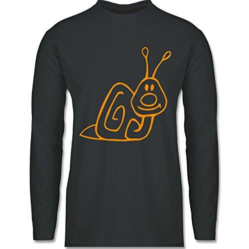 Sonstige Tiere - Schnecke - Longsleeve / langärmeliges T-Shirt für Herren Anthrazit