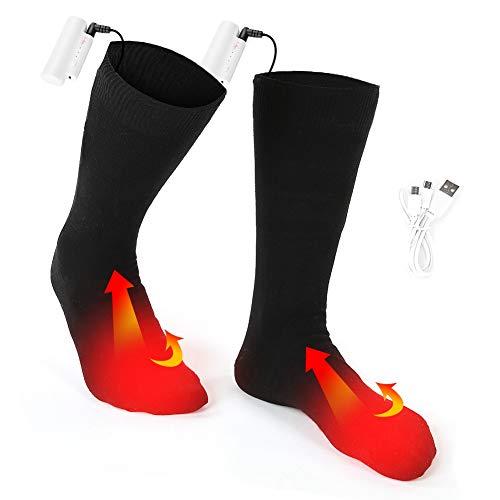 Calze riscaldate ricaricabili, 3 temperature regolabili elettriche uomo e donna calze termiche alimentate a batteria indoor outdoor utilizzato per l'escursionismo campeggio passeggiate scaldapiedi