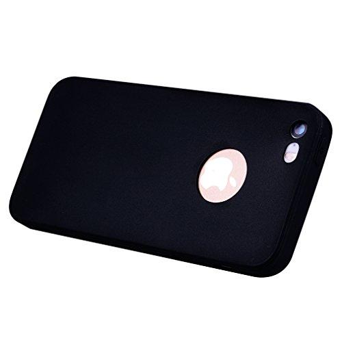 Cover per iPhone 5S, OUJD iPhone 5 Cover Silicone Morbido TPU Flessibile Gomma Opaco, Custodia Antiscivolo Satinato, Ultra Sottile Cassa Protettiva,Tappi Antipolvere Per iPhone 5/SE/5C - Nero nero