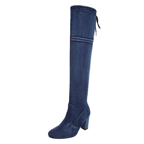 Ital-Design Overknees Damen-Schuhe Klassischer Stiefel Pump High Heels Reißverschluss Stiefel Blau, Gr 40, H907-