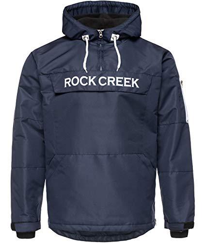 Rock Creek Herren Windbreaker Jacke Übergangsjacke Anorak Schlupfjacke Kapuze Regenjacke Winterjacke Herrenjacke Jacket H-167 Dunkelblau L