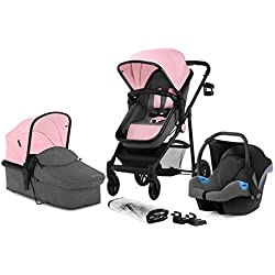 Kinderkraft Pram JULI 3 in 1 Set Folded Travel System with Infant Car Seat Carrycot Pushchair | Accessories Rain and Foot Cover Cup Holder from Birth to 3 Years (0-13kg) Pink