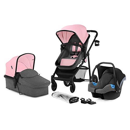 Kinderkraft Silla de paseo de bebe JULI 3en1 Trio Cochecito 3 piezas capazo silla de coche incluida plegado 3 posiciones del asiento con accesorios Protector de Lluvia Saco para Piernas (0-13 kg)