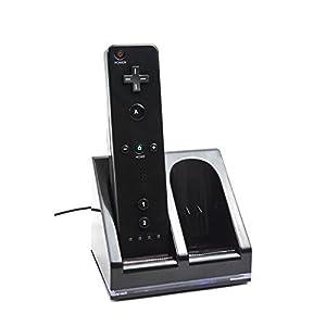 MP power @ Schwarz Dual Ladegerät Dockingstation Lader Ladestation + 2 x 2800mAh Qualitäts AKKU für Nintendo Wii Remote Controller