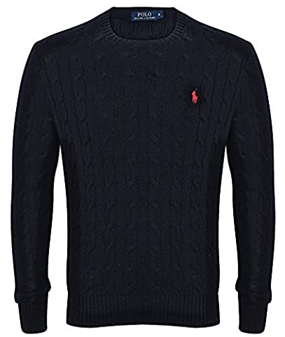 Ralph Lauren Polo Mens Cable Knit Crew Neck Jumper Black, Navy (XXL, Black)