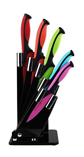 Küchen Messerblock Set mit Farbkodierung 5-tlg NUOVVA antihaftbeschichtetes Messerset Küche Brotmesser Fleischmesser Gemüsemesser Obstmesser Käsemesser