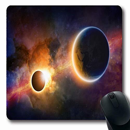 Luancrop Mousepads Wissenschaftliche Zusammenfassung Glowing Planet Erde im Weltraum Nebula Sonnenfinsternis Sterne Diese Möblierte Design rutschfeste Gaming Mouse Pad Gummi Längliche Matte (Gute Erde Wissenschaftliche)