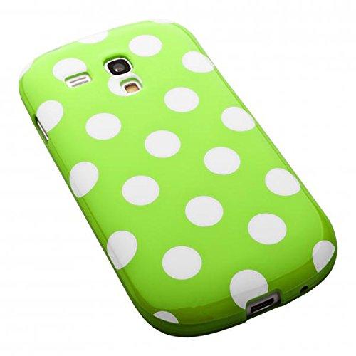 ECENCE Samsung Galaxy S4 mini I9190 I9195 I9192 Duos Coque de protection housse case cover rétro rouge à pois blanc 12040404 Rétro vert à pois blanc
