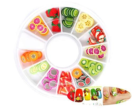 2 Boîtes De Fruits Mélanger La Pâte Polymère FIMO Cane Tranches Kawaii Aliments Nail Art Manucure Miniature Autocollants Résine De Scrapbooking