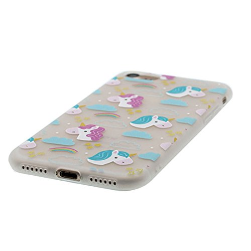 Custodia iPhone 7, Silicone trasparente Cartoon Stile del modello Case Con materiale di alta qualità & morbido & & Ultra sottile iPhone 7 copertura 4.7 Graffi Prova / anguria unicorno unicorn Rainbow