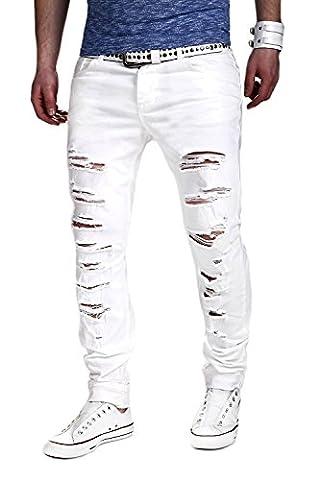 MT Styles Destroyed Jeans Slim Fit RJ-2094 [Weiß, W36/L32]