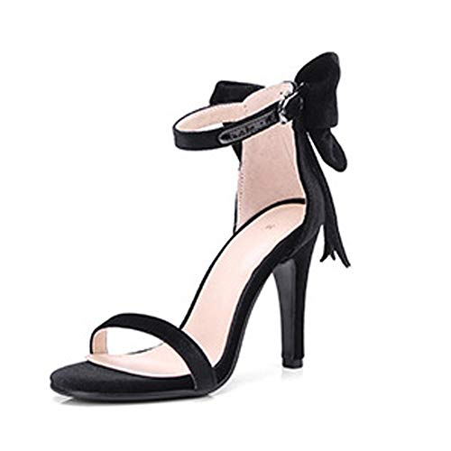 TYXWF Frauen Schuhe Bow Heels Slingback Pumps Pumps Pumps,Black,38 Bow Slingback Heels
