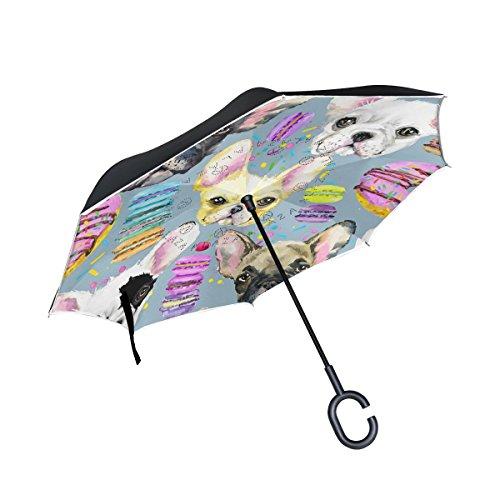 Französische Bulldogge Alaza Welpe seitenverkehrt Regenschirm Double Layer Winddichte Rückseite Faltbarer Regenschirm für Auto mit C-förmigem Henkel -